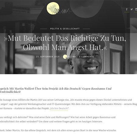 """Interview über mein Projekt """"Ich bin Deutsch!"""" auf MiMA"""